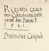 Historical Atlas of Poland. Tax Registers from the Voivodeship of Kalisz in the 16th Century.