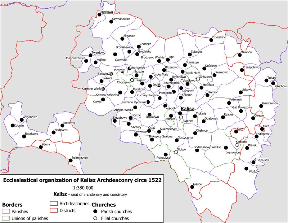 Mapa archidiakonatu kaliskiego około 1522 r.