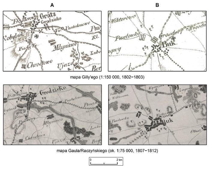 Ryc. 1 Porównanie mapy Gaula/Raczyńskiego i mapy Gilly'ego.