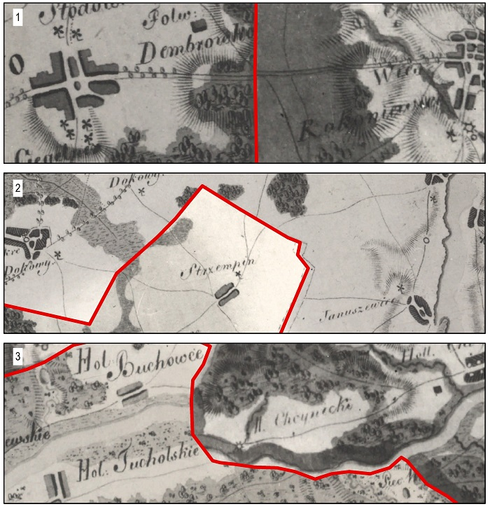 Ryc. 4 Przykłady łączenia arkuszy mapy Gaula/Raczyńskiego