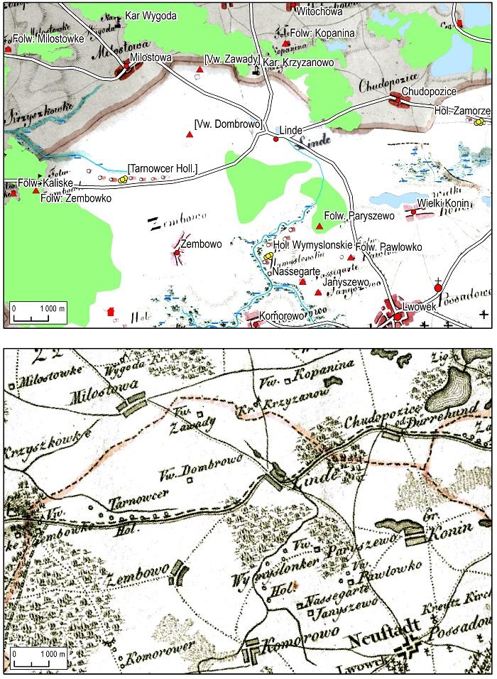 Ryc. 5 Uzupełnianie przestrzennej bazy danych za pomocą mapy Gilly'ego