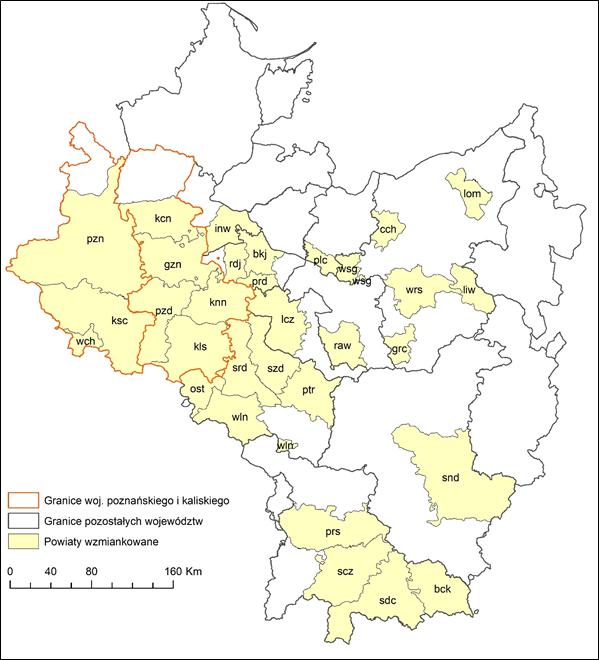 Mapa 1. Powiaty, z których pochodziła szlachta wzmiankowana w księgach grodzkich i ziemskich powiatu kaliskiego z przełomu lat 80. i 90. XVI w. objętych projektem