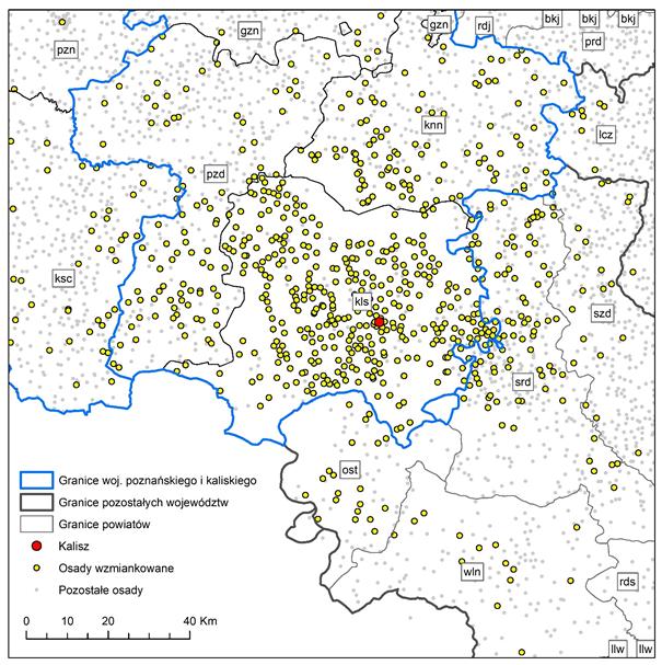 Mapa 3. Miejscowości wzmiankowane w księgach grodzkich i ziemskich powiatu kaliskiego z przełomu lat 80. i 90. XVI w. objętych projektem.